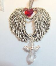 Remembrance Antique Silver Angel Wings Red Heart & Crystal Angel Decoration