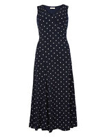 M&S Per Una Size 8-18 Lined Soft Stretch Navy White Geometric Print Midi Dress