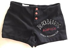 70's Acapulco Natural Insemination TEAM Polyester Hipster Shorts BLACK BEARDS 34