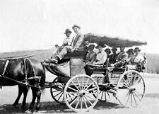 HORSE! WAGON! OLD-TIME RIDE IN A PARK! Antique PHOTO! 1890s-1900s HISTORIC GROUP