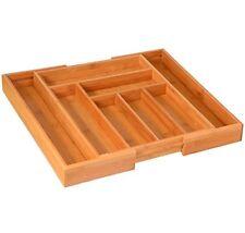 Storage Organizer Drawer Bamboo Kitchen Tray Flatware Cutlery Silverware Utensil