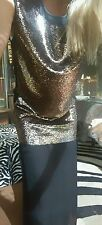 "Sass & Bide ""GET A LEG UP"" Sequin Embellished Side Splits Dress Size 36 (6-8)"