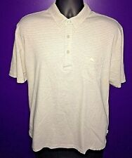 Tommy Bahama RELAX Men's XL Lime Beige Stripe Casual Cotton Pocket Polo Shirt B