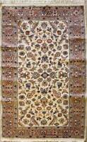 Rugstc 3x5 Pak Persian Ivory Area Rug, Hand-Knotted,Floral with Silk/Wool Pile