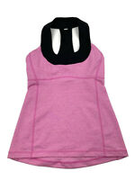 LULULEMON Womens Tank Top Size 4 Pink Built In Bra Scoop Neck Mesh T Back