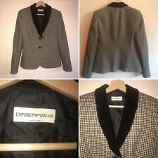 Vtg Emporio Armani Sz 12 Black & White Check Wool Fitted Blazer Jacket Womens