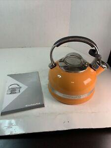 KitchenAid Teapot Kettle Whistling 2 QT Stainless Steel Burnt Sienna Orange Tan