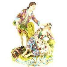 LARGE & impressionante Antico EDME SAMSON PORCELLANA Figura Gruppo GALLANT & LADY