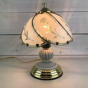 Vintage Gold White Porcelain Touch Table Lamp Bedroom Desk 3-Way Sensor