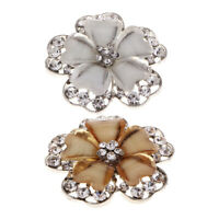 Flower Design Alloy Rhinestone Shank Button DIY Sewing Supplies for Girls