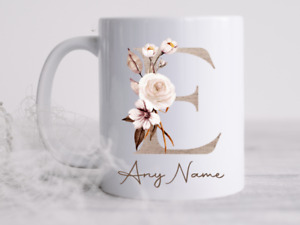 Personalised Initial With Name Cup  Birthday Mug Tea Coffee Cup Gift Present