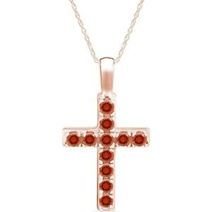 Simulated Citrine Cross Pendant Necklace in 14k Rose Gold Over 925 Silver