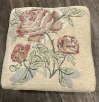 Vtg Plush Tapestry Embroidered Needlepoint Square Foot Stool Wooden Feet