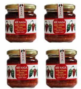 Mr Naga  - The Best Hot Naga Pickle  4x jars  190g each very hot FREE P&P