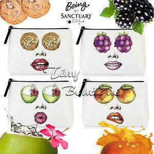 Being by Sanctuary Spa Makeup Toiletry Bag White with Funny Fruity Print