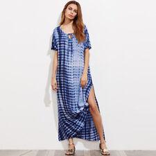 Women Lace up V-neck Long Maxi Dress Cocktail Party Split Beach Sun Dresses Blue 24