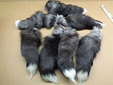 #1 XXL Tanned Silver Fox Tail/Crafts/100% USA Real Fur/Purse/Oakland Raider Tail