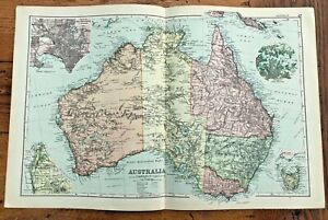 1890 large double page map - g.w. bacon the strand london . australia  (47 )
