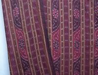 Genuine Ikat Fabric Hand-Dyed & Hand-Woven Cotton. Orissa India Burgundy