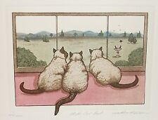 "MARTHA HINSON ""LET'S EAT OUT"" CATS IN THE WINDOW LIMITED EDITION SIGNED ETCHING"