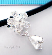 1x STERLING SILVER CZ CRYSTAL FLOWER PENDANT SLIDE BAIL PINCH CLASP  #1554