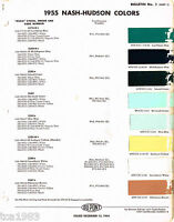 1955 NASH/HUDSON Color Chip Paint Sample Brochure/Chart: Du Pont, DuPont, '55