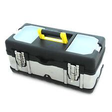 """14"""" Caja de herramientas de acero inoxidable resistente carcasa de Almacenamiento Portátil Plata"""