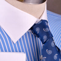 Blue Stripe White Collar & Cuff Formal Dress Shirt Luxury Fashion Standard Cuff