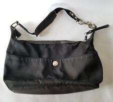 Coach Hobo Handbag Purse Nylon Black Lobster Claw Strap Zippered Side Pocket