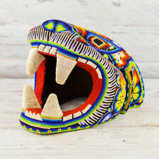 H263 Jaguar Head Huichol Art Mexican Hand Beaded Crafts Nayarit Jalisco Peyote W