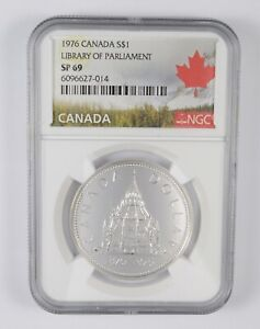 SP69 1976 Canada $1 Silver - Library Of Parliament - Graded NGC *063