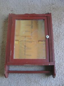 Antique Wood Commercial Towel Service Wall MEDICINE CABINET Mirror 21H x 13W