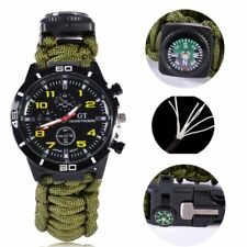 Waterproof Whistle Survival Watch Bracelet Paracord Compass Flint Fire Starter