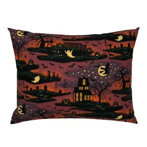 Halloween Vintage Spooky Haunted House Jack O Lantern Pillow Sham by Roostery