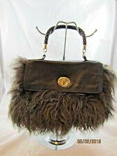 AQUA MADONNA Brown Mongolian Lamb Fur Handbag