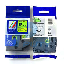 2PK Black on Fluorescent Yellow Tapes TZ-C41 TZe-C41 Compatible for P-touch 18mm