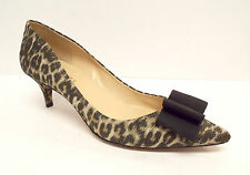 TALBOTS Size 8.5 Leopard Print Heels Pumps Shoes w/ Grosgrain Bow 8 1/2