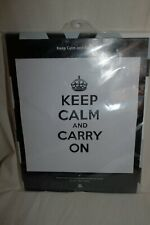 Izola Design Shower Curtain Keep Calm and Carry On White/Black 183x183 New