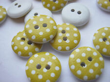 10 Yellow Polka Dot Sewing Buttons 15mm White Spot Summer Clothing Buttons