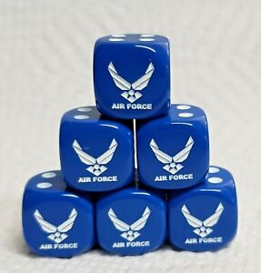 """16mm - *6* Chessex Custom """"Air Force"""" & Wings Logo #1 - Opaque Blue w/White Pips"""
