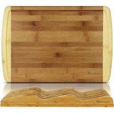 """1"""" Large Premium Organic Bamboo Cutting Board Drip Groove + Knife Block Organize"""