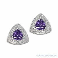 925 Sterling Silver Studs Faux Amethyst Cubic Zirconia CZ Crystal Stud Earrings