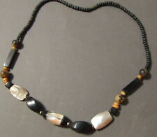 VINTAGE AFRICAN TRIBAL MARKET WOOD SHELL SEED BEADS NECKLACE ETHNIC PINK BLACK