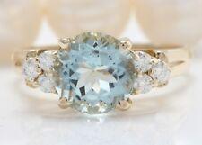 3.10 Carat Natural Blue AQUAMARINE and DIAMOND 14K Solid Yellow Gold Women Ring
