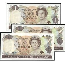 New Zealand One Dollar $1 Paper Banknote UNC Prefix AA Star Consecutive of 3 #14