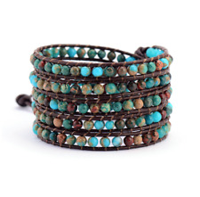 Imperial Jasper Beaded Wrap Bracelet Leather 5x Round Natural Stone Turquoise
