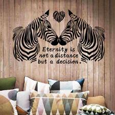 Love Zebra Wall Stickers Black Couple 3D Decals Wallpaper Murals Decor For Home