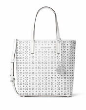Michael Kors Perforated Hayley Medium Tote Optic White