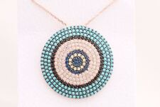 Turkish Jewelry Sapphire Turquoise Topaz 925 Sterling Silver Rose Gold Necklace
