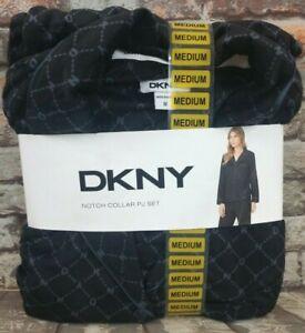 DKNY Womens Notch Collar Pajama Set in a Patterned Black Size Medium (10-12)